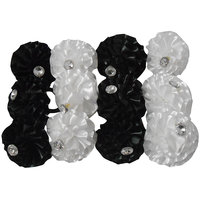 Black  White Hair Rubber Band Pack Of 12