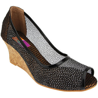 Tycoon Womens Black Mesh Wedges at shopclues