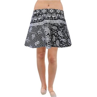 Pezzava: Elephant Design Women's Wear Cotton Short Mini Skirt SKT-WMC-A0028