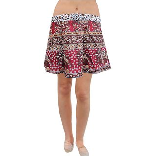 Pezzava: Women's Wear Short Mini Wrap Around Casual Wear Skirt SKT-WMC-A0056