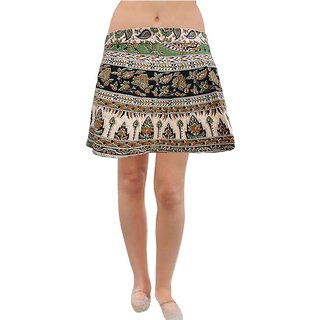Pezzava: Women's Wear Mini Wrapround Lovely Floral Print Skirt SKT-WMC-A0169