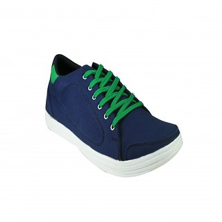 AZAZO Men Blue-Green Lace Up Casual Canvas Shoes