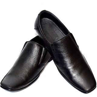 Adler Mens Black Genuine Leather Slip-on Shoes