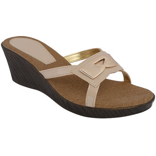 SHOE BAZAR Beige Wedge Sandals For Women (sb-11668-beige)