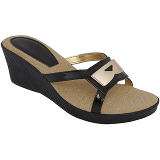 SHOE BAZAR Black Wedge Sandals For Women (sb-11668-black)