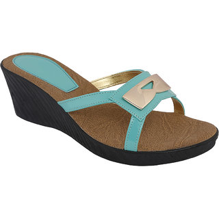 SHOE BAZAR Blue Wedge Sandals For Women (sb-11668-firozi)