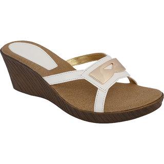 SHOE BAZAR White Wedge Sandals For Women (sb-11668-white)