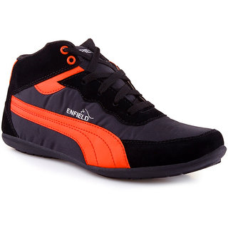 Stylos Mens Black And Orange Casual Shoes