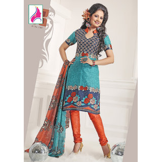 Riti Riwaz Enchanting Sea Blue & Orange Cotton Designer Suit - 1002