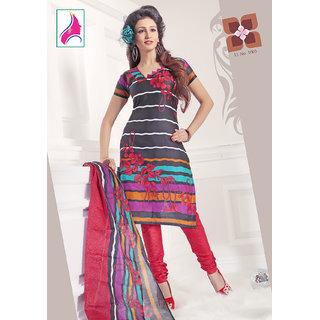 Riti Riwaz Artistic Black & Magenta Cotton Designer Suit - 1003