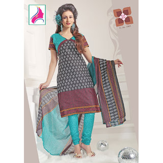 Riti Riwaz Stunning Black  & Sea Blue Cotton Designer Suit - 1005