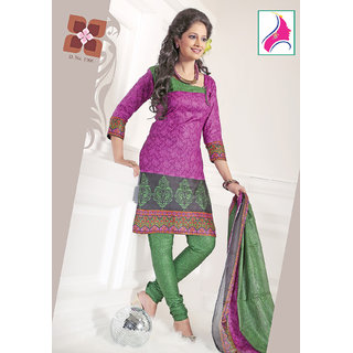 Riti Riwaz Dainty Rani  & Green Cotton Designer Suit - 1006