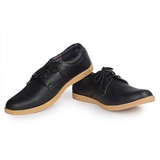 Kraasa Western Fits Casual Black Lace Up Shoes