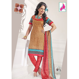 Riti Riwaz Dazzling Beige & Red Cotton Designer Suit - 1008