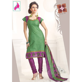 Riti Riwaz Pleasing  Green & Rani Cotton Designer Suit - 1011