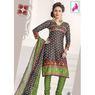 Riti Riwaz Incredible Black  & Green Cotton Designer Suit - 1012