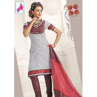 Riti Riwaz Bewitching White  & Maroon Cotton Designer Suit - 1013