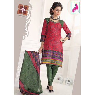 Riti Riwaz Appealing Red & Green Cotton Designer Suit - 1014