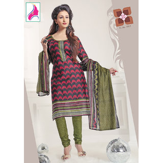 Riti Riwaz Lovely Red & Green Cotton Designer Suit - 1015