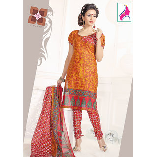 Riti Riwaz Dashing Orange & Red Cotton Designer Suit - 1016