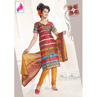Riti Riwaz Groovy Maroon & Golden Cotton Designer Suit - 1017