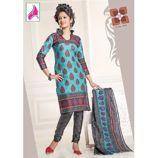 Riti Riwaz Zesty Cyan & Black Cotton Designer Suit - 1019