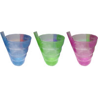 Spiral Shape Glass with Straw for Kids - Set of 3