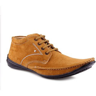 Tan Color Nubuck Leather Casual Shoes For Men