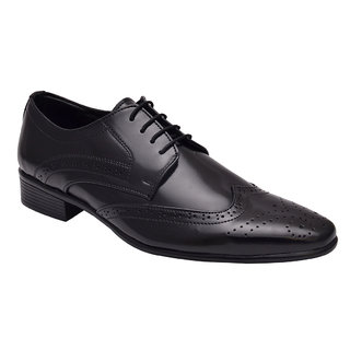 Hirels Black Derby Brogue Shoes