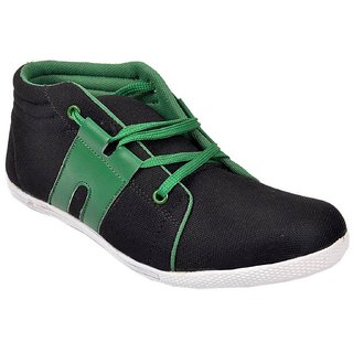 Mens Black And Green Smart Casual Shoes