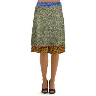 Pezzava: Wraparound Knee Length Mix Rayon Silk Reversible Skirt SKT-WKS-A0034