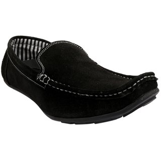 Fine Arch Casual Slipon Suede Leather Black Shoes