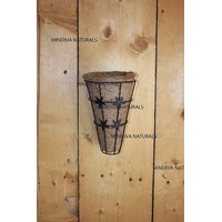 Minerva Naturals - Wall Hanger Metal With Coir (SET OF 3) 23 CM X 15 CM X 15 CM