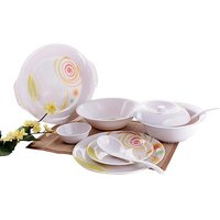 Diamond Crockery Melamine White Dinner Set - 32 Pcs