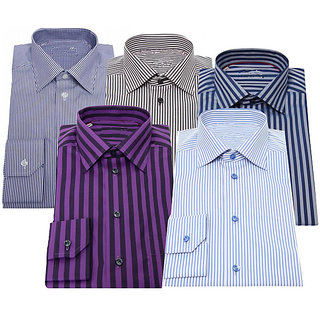 Pack of 5 Long Sleeves Poly Cotton Men's Shirts