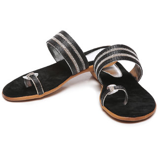 Synthetic Leather ABR Silver Flats - 85944500