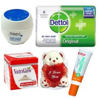 Dettol Soap,face Pack , Ponds & Lip Balm With Free  Valentine Gift