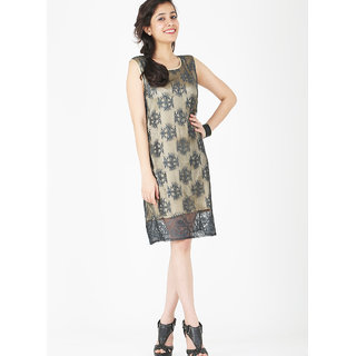 Schwof Black Gold Lace Dress