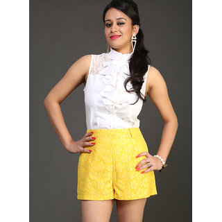 Schwof Yellow Lace Shorts