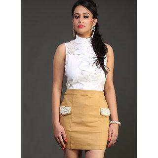 Schwof Beige Pearl Embroidery Skirt