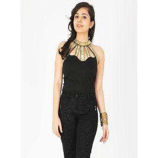 Schwof Gold Halter Neck Top