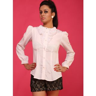 Schwof White Lace Frill Shirt