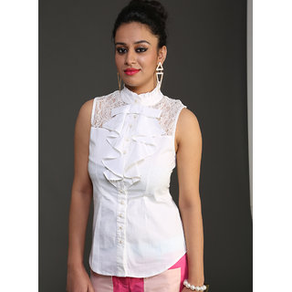 Schwof White Lace Sleeveless Shirt