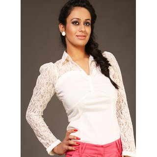 Schwof White Collar Lace Shirt