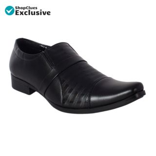 Shoeniverse Mens Black Slip On Formal Shoes For Office Purpose