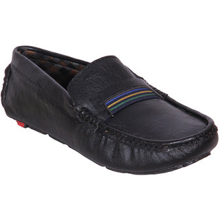 Austrich Black Driving Shoes With TPR Sole