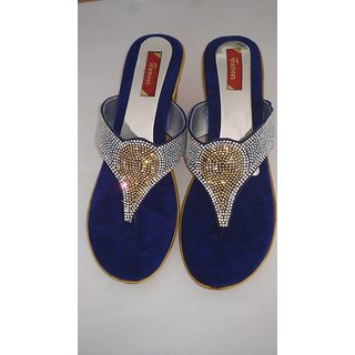 Royals Blue Diamond Colored With Golden And Silver Jarkan Stone Wedges For Girls