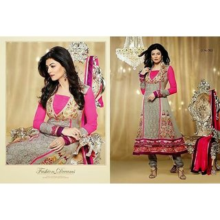 Designer Grey & Pink Suit