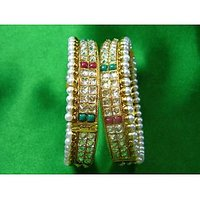 Stunning Pink And Green Stones Bangles With One Sided Pearls And White Kundan
