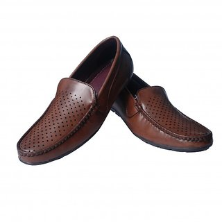 BROWN Leather Loafer Casual Shoes For Mens